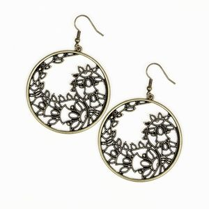 Floral Leafy Brass Vine Round Dangle Earrings